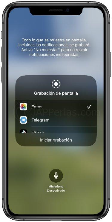 Opciones ocultas de la grabación de pantalla de iOS