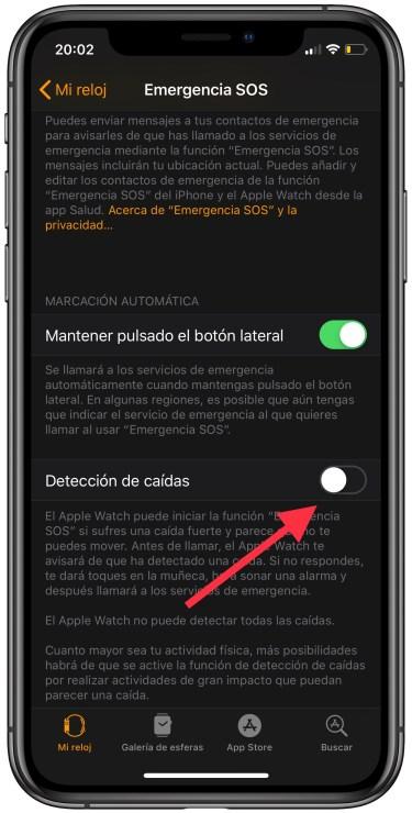 detección de caídas en el Apple Watch