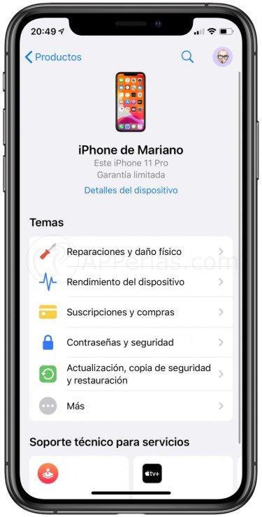 Reparaciones y daño físico en iPhone