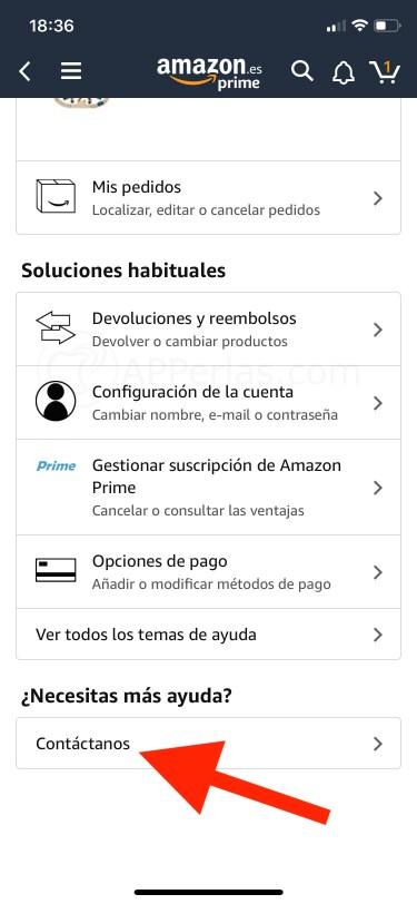 Contacta con Amazon