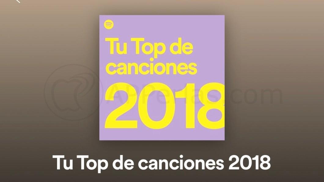 Tu top de canciones 2018, de Spotify