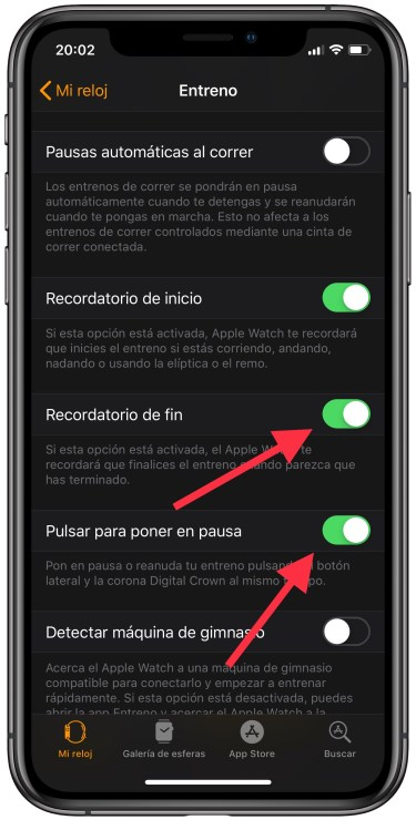 entrenamiento en el Apple Watch 2