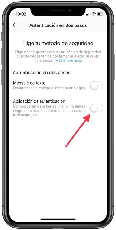 autenticación en dos pasos con una app en Instagram 2