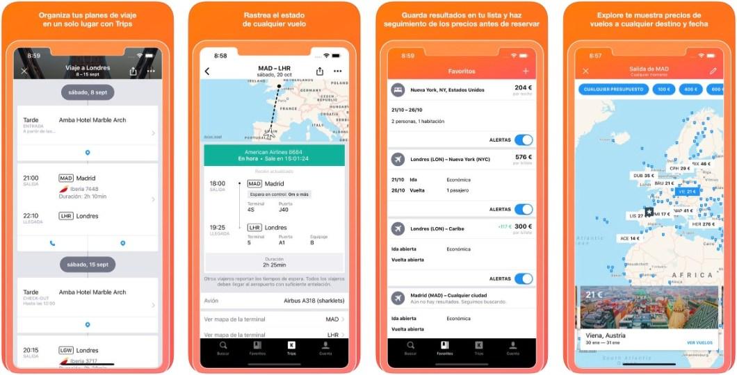Aplicación de Kayak para iPhone