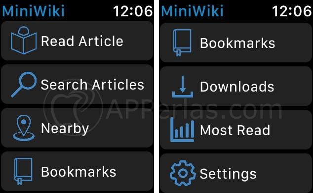 Menú principal de MiniWiki