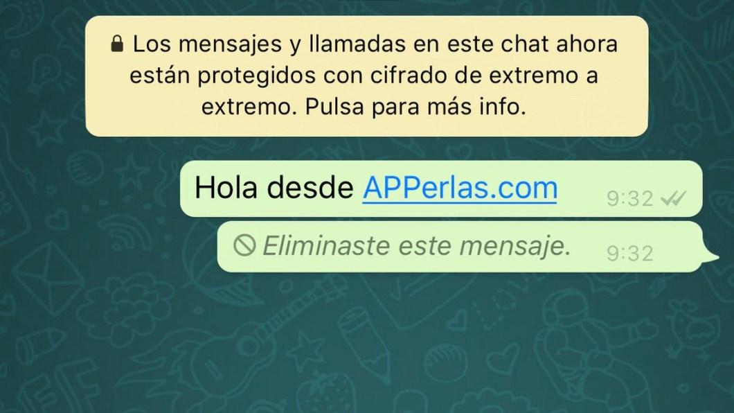 Mensaje de WhatsApp borrado