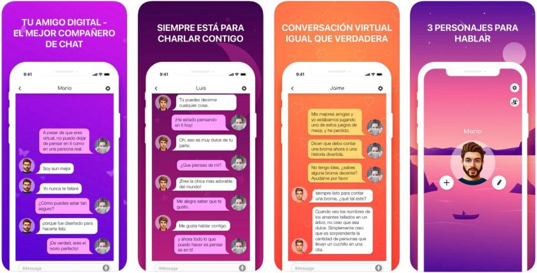 Interfaz de la app Novio Virtual