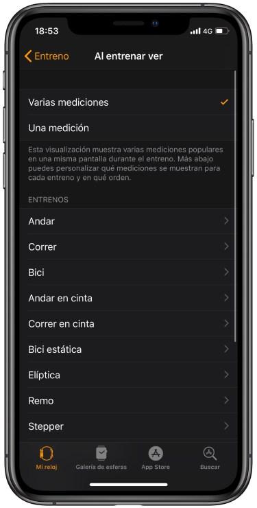 pantalla de entreno en el Apple Watch 2