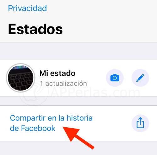 Estados de WhatsApp en Facebook