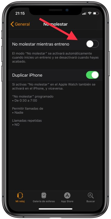 no molestar del Apple Watch 2