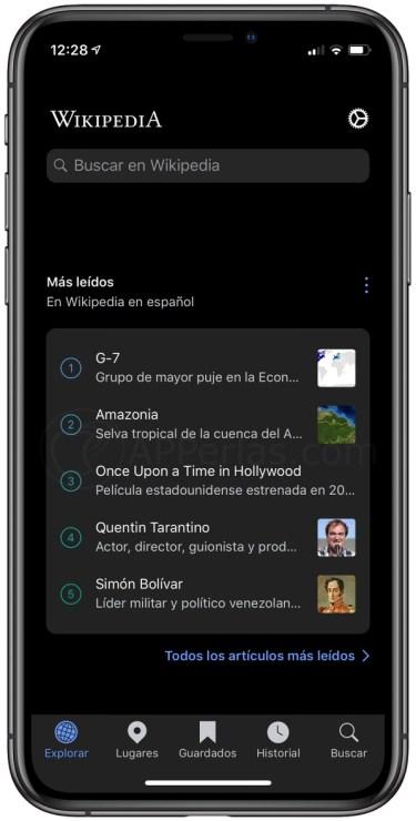 Pantalla principal de la app