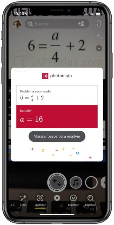 Operación matemática resuelta con Snapchat