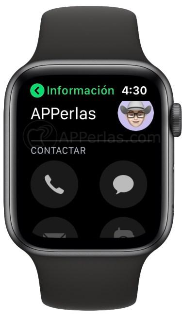 Contactos telefónicos en el Apple Watch