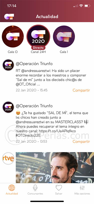 app OT 2020 operacion triunfo iphone ipad 2