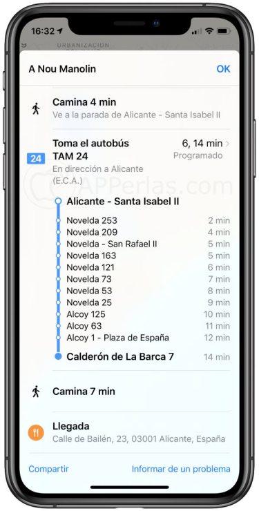 Detalles de la ruta en transporte público de Apple Maps