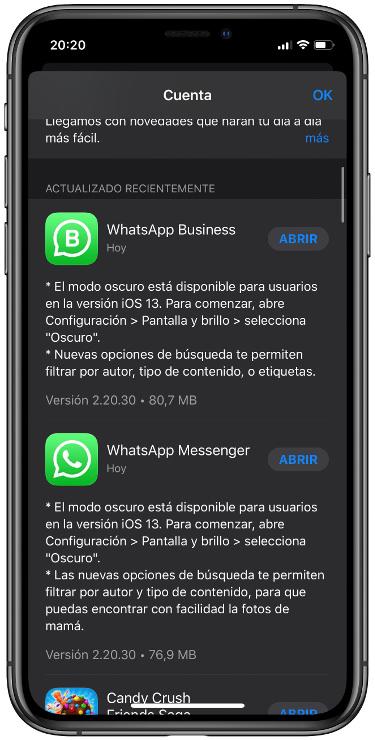 modo oscuro a WhatsApp 1