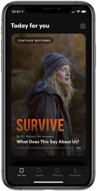 Captura de la app Quibi en iPhone
