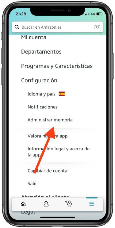 memoria en la app de Amazon 1