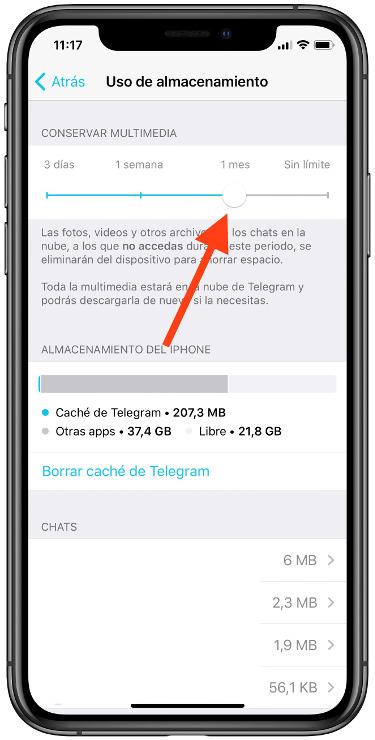 liberar espacio en Telegram 1