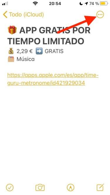 Opción compartir en nota de iOS 14