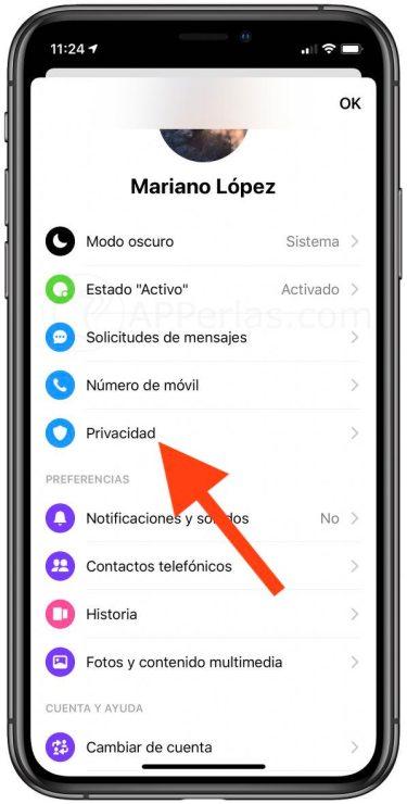Privacidad en Facebook Messenger