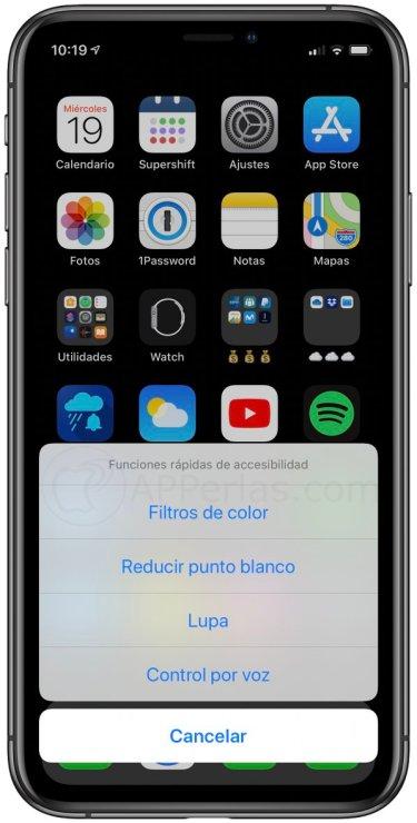 Listado de funciones rápidas configuradas en mi iPhone