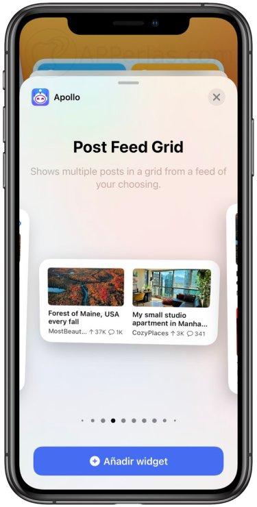 Apollo una de las apps con Widgets para iPhone