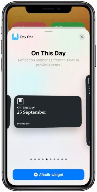 Widgets de la app Day One