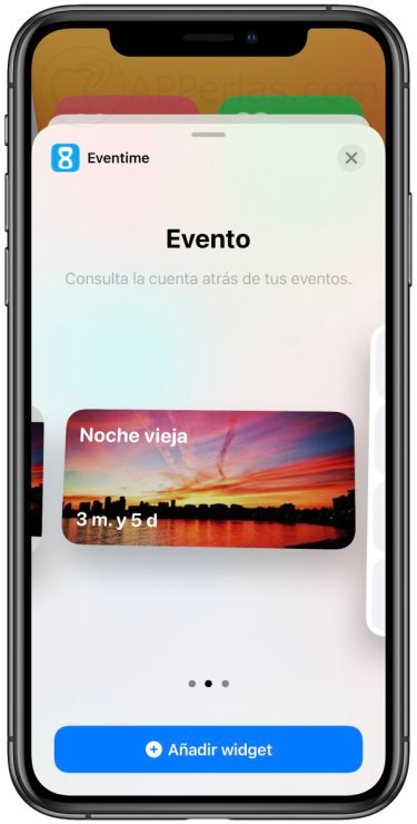 Widgets de la app Eventime