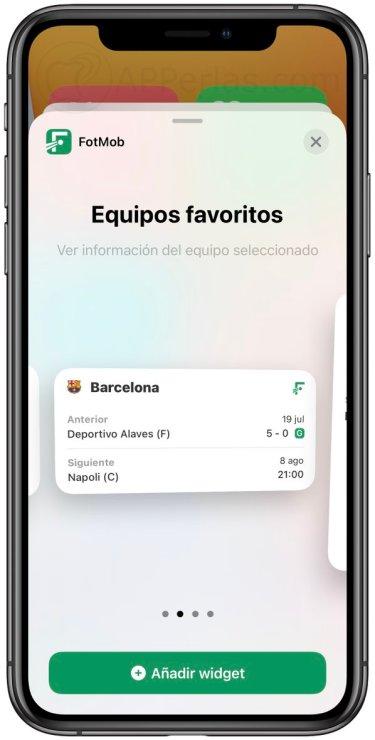 Widgets de la app FotMob