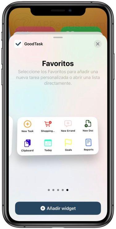 Widgets de la app GoodTask