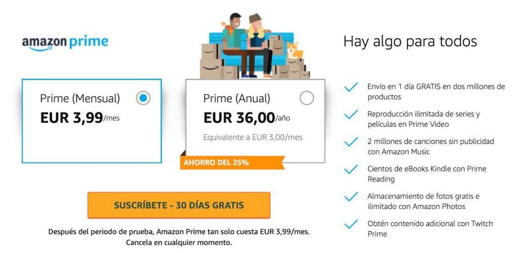 Precios Amazon Prime 2020