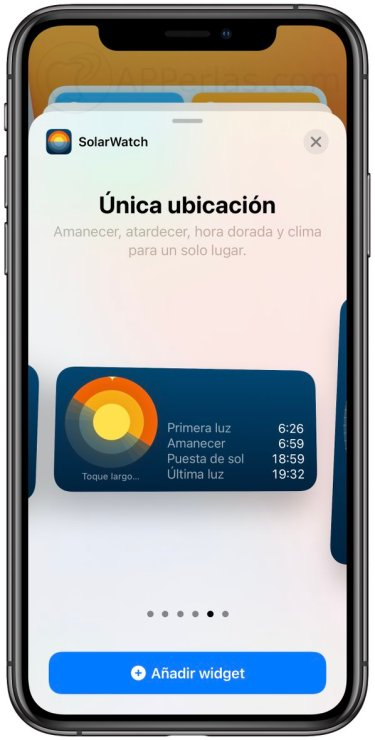 Widgets de la app SolarWatch