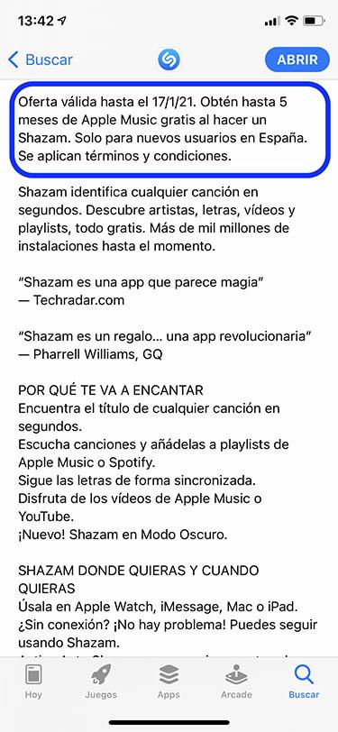 apple music gratis 5 meses shazam