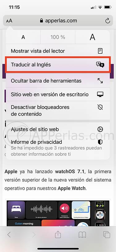 traducción de Safari de iOS 14 1