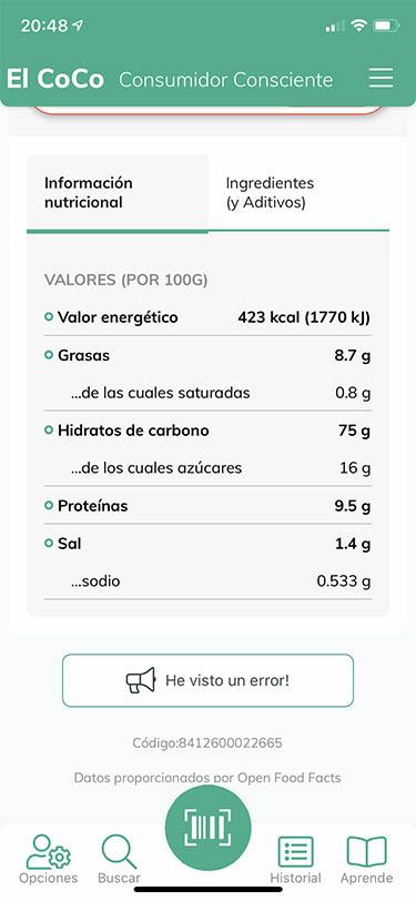 app analizar alimentos y productos coco 3