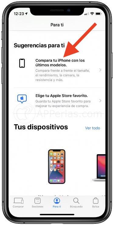 Selecciona esa opción en la app Apple Store