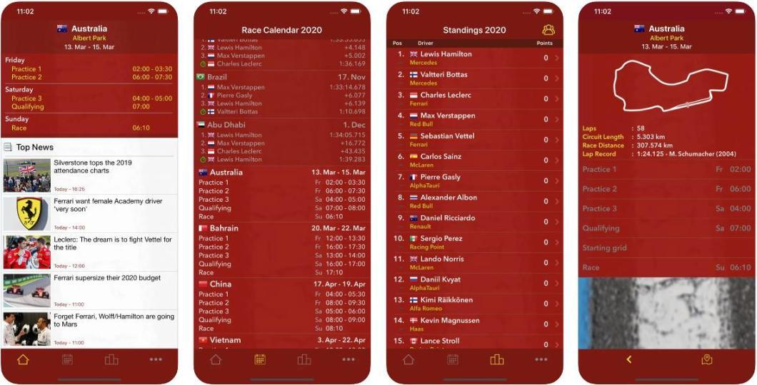 App con información de la Fórmula 1