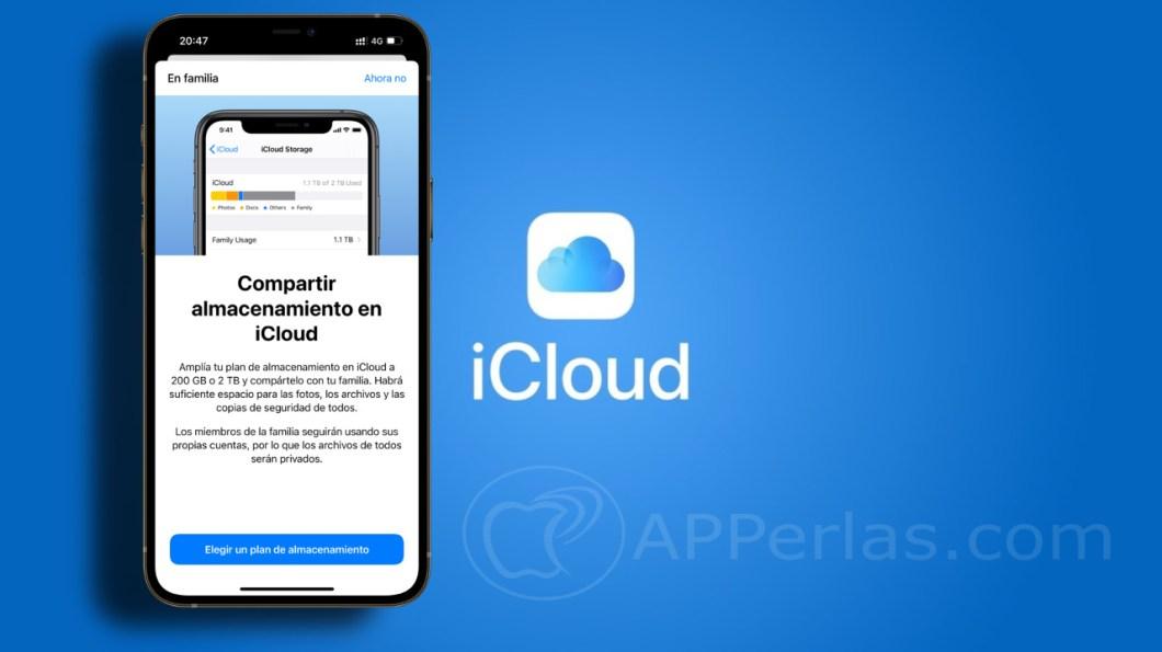 compartir espacio en iCloud