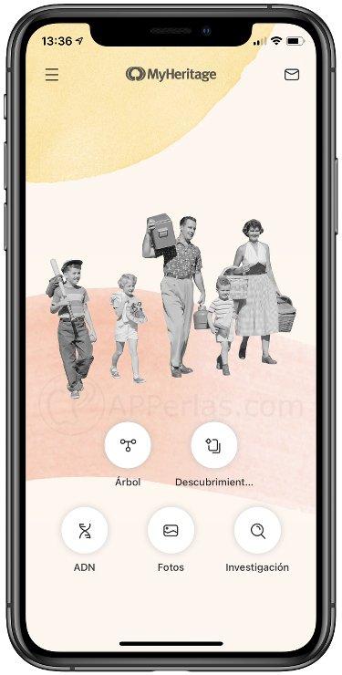 Pantalla de inicio de MyHeritage
