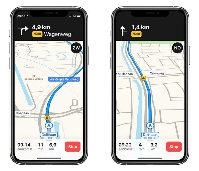 Información de radares fijos en Apple Maps