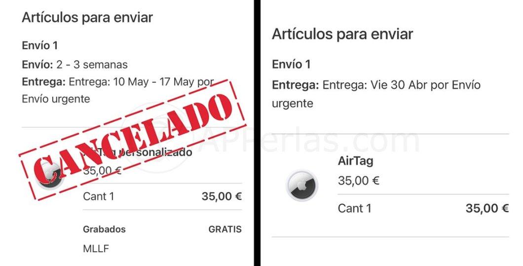Pedido de Airtags cancelado