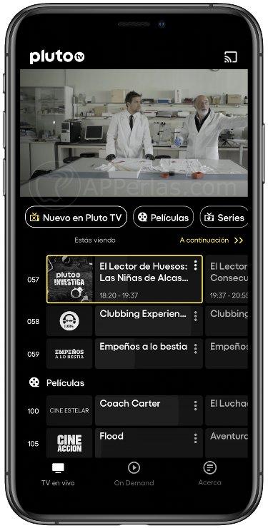 Interfaz de Pluto TV