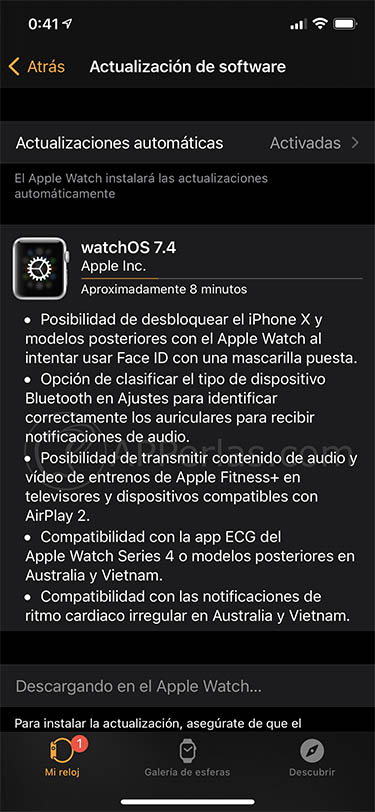 watchos 7.4 actualización apple watch mascarilla