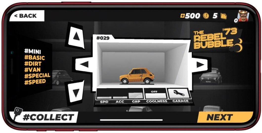 Catálogo coches en este juego de conducción
