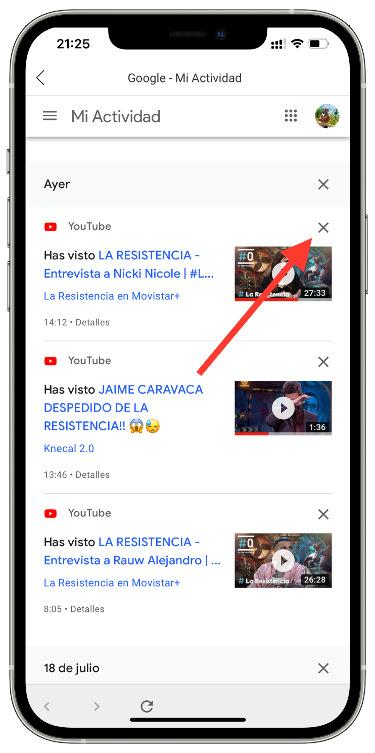 seleccionar el historial de Youtube 2