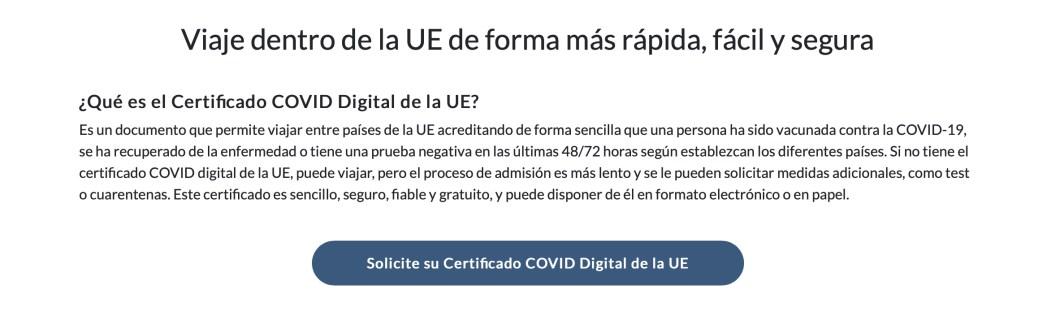 certificado covid19 ue sanidad oficial wallet