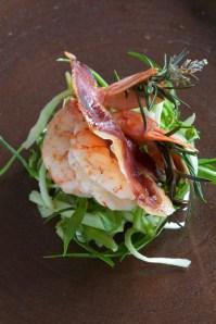 Prawn, Guanciale on Puntarelle salad :: Sale e Pepe Magazine | Recipe and Food Styling: Orsola Ciriello Kogan | Styling: Cristina Gigli | Photo: ©SerenaEller