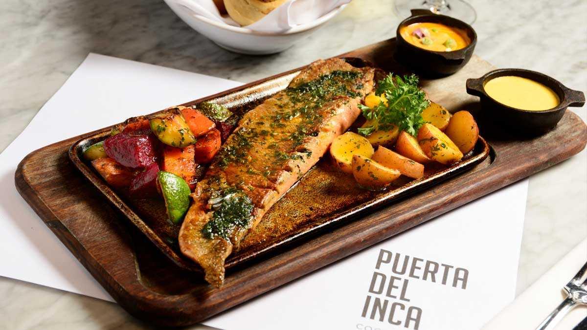 Filet de trucha patagónica en salsa provenzal con papines y batatas