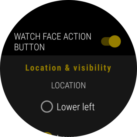 Watch face action button settings page